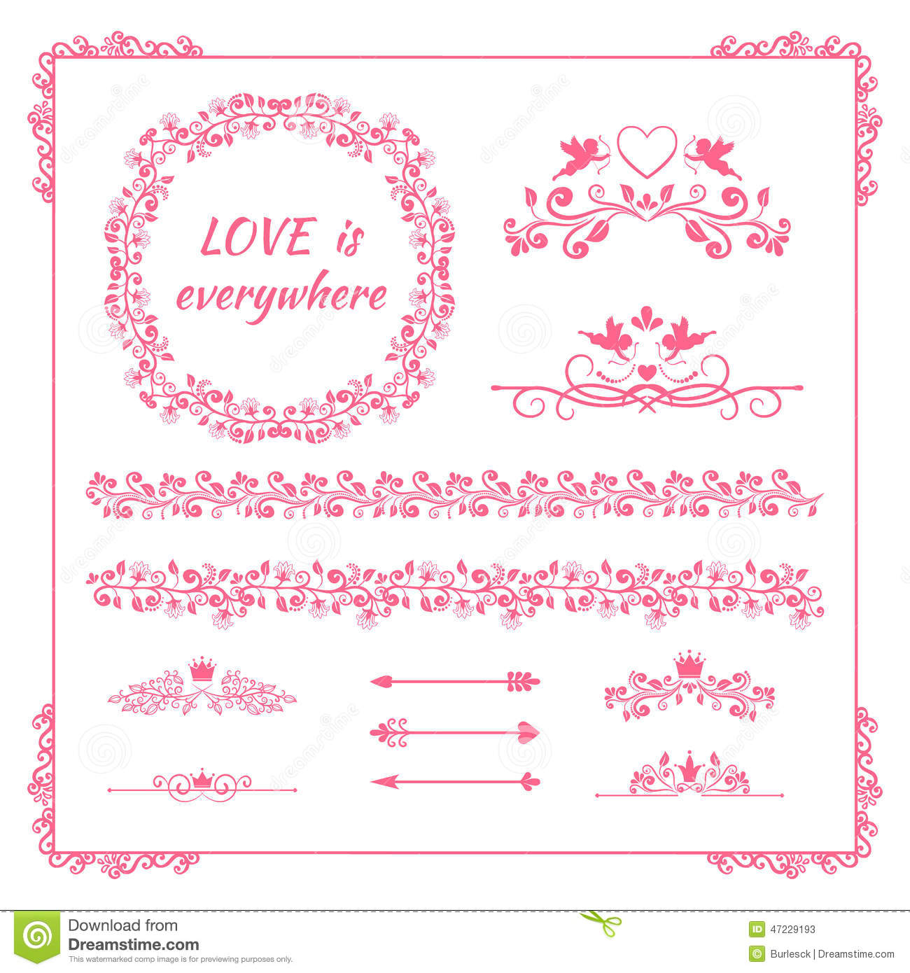 pink floral element for wedding or birthday stock vector