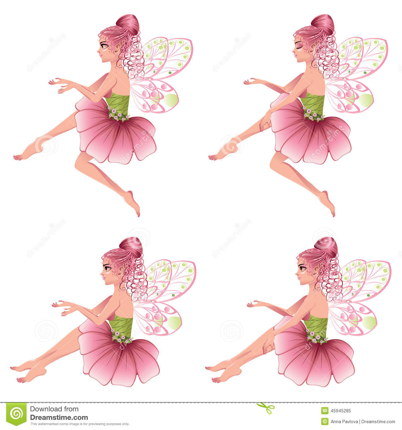 Pink Floral Fairy Stock Vector Illustration Of Fairy 45945285