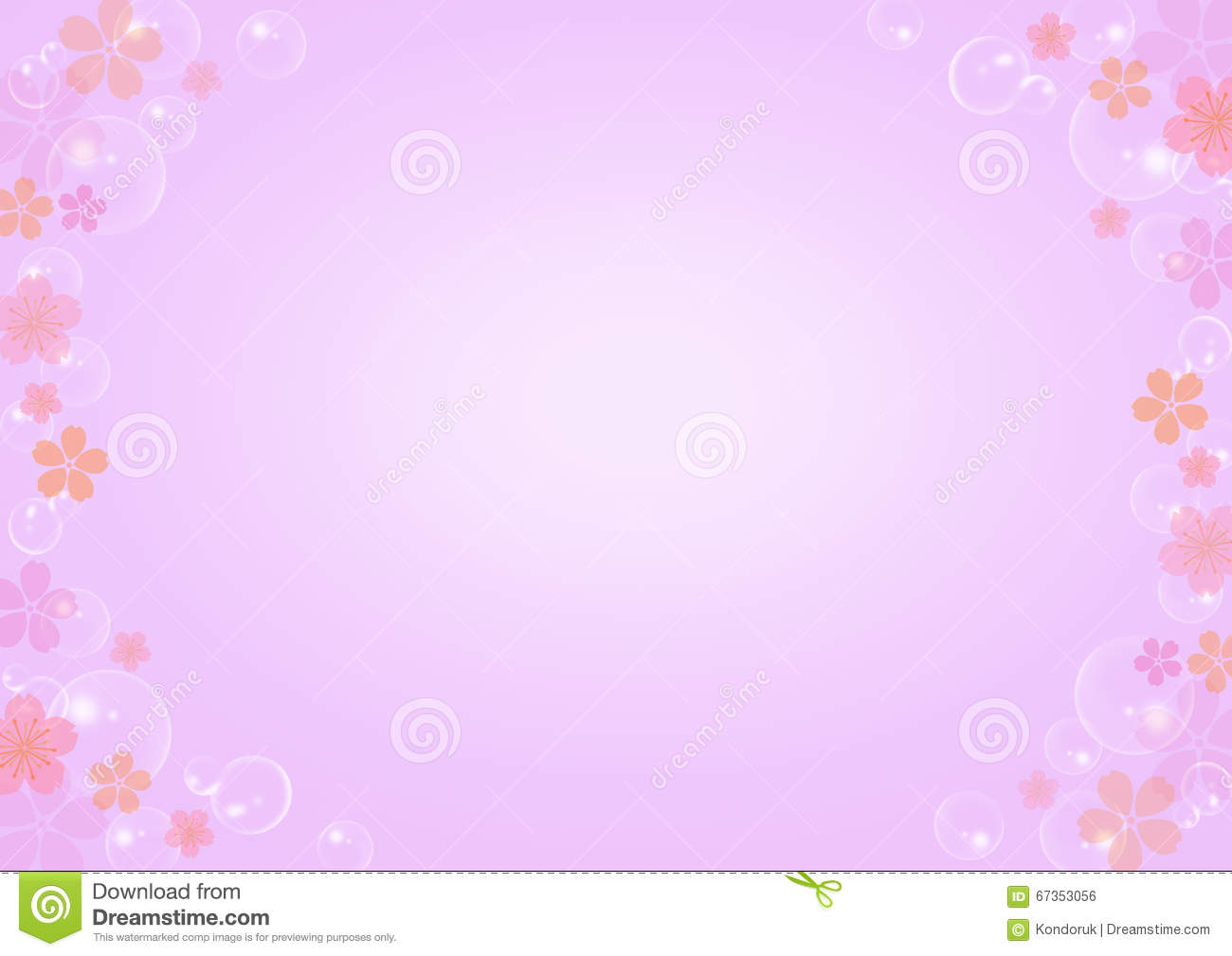 pink floral in soft purple background stock illustration