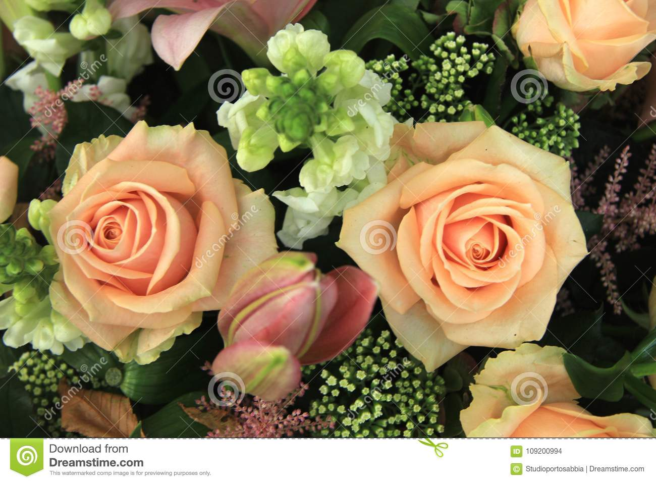 Pink Wedding Flowers Stock Photo Image Of Rose Bouquet 109200994