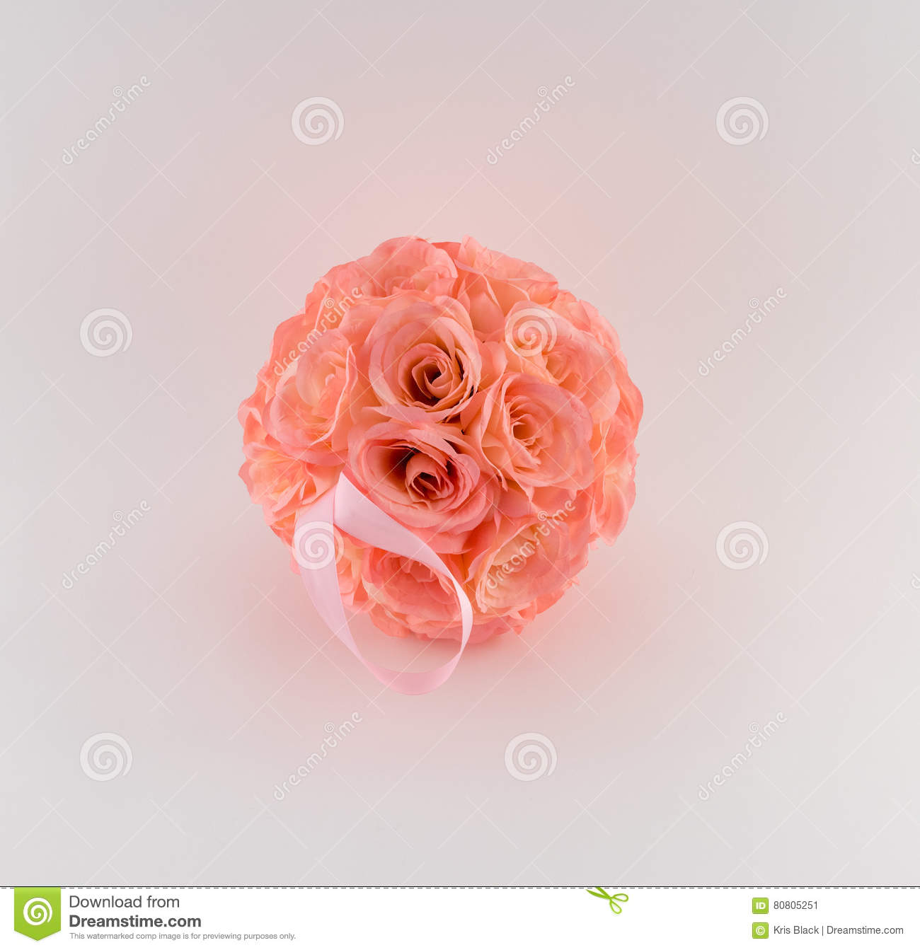 Pink Flower Ball With Ribbon Stock Image Image Of Hanging Soft