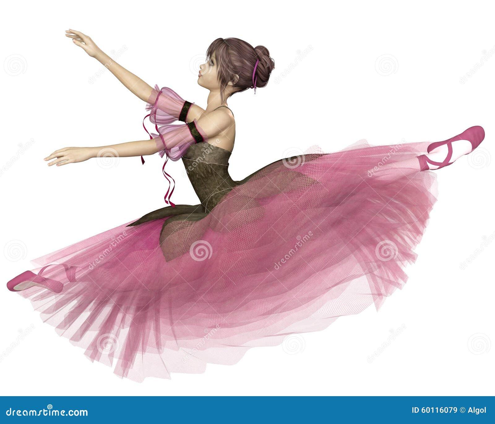 Pink flower ballerina leaping stock illustration image for Ballerine disegnate