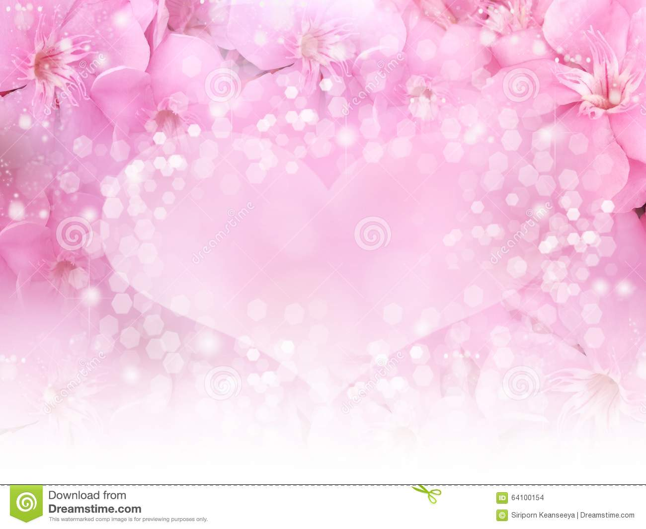 Pink Flower Border And Heart Bokeh Background For Wedding Card Or