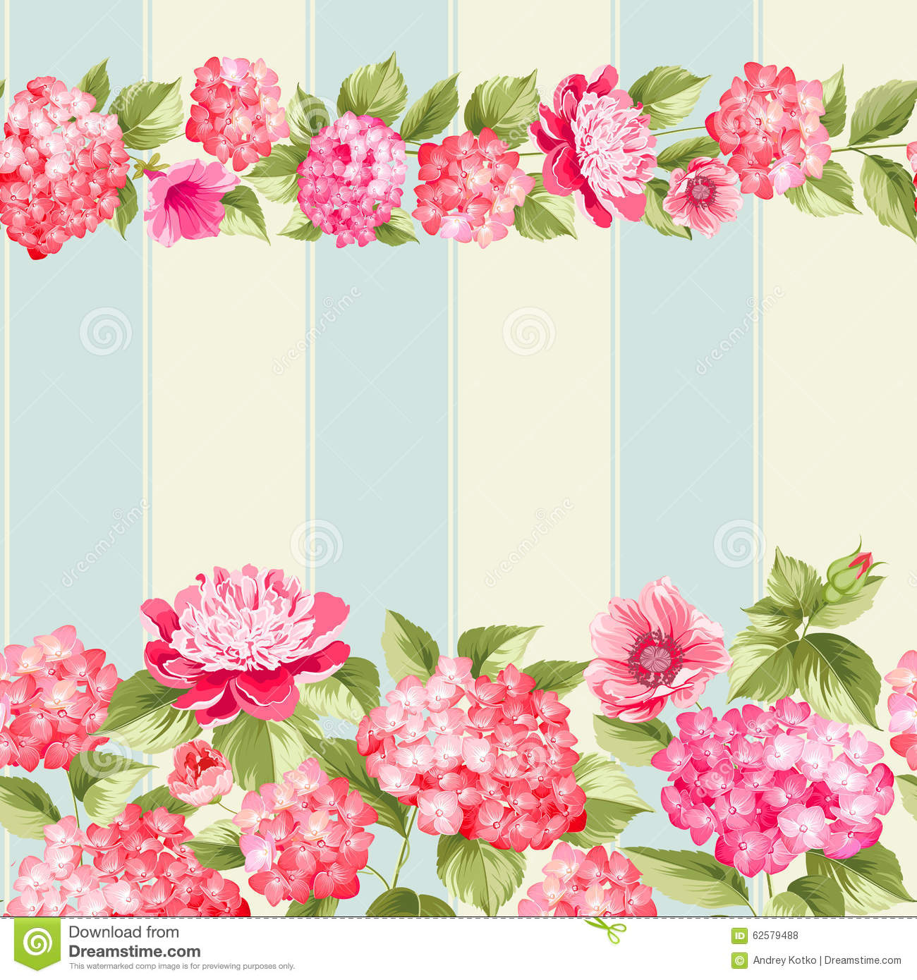 pink flower border with tile stock vector image 62579488