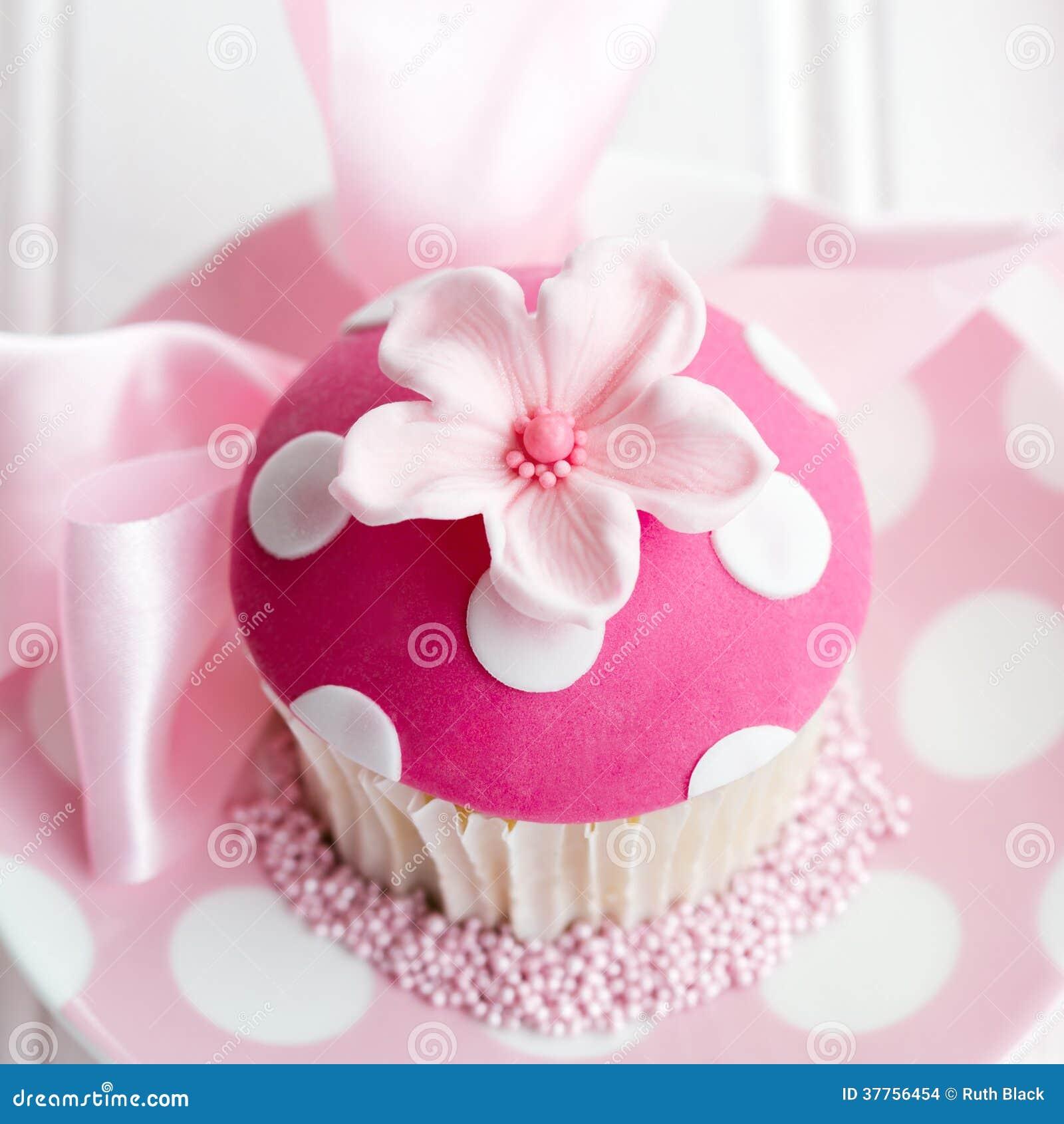 Pink Flower Cupcake Stock Photo Image Of Square Sprinkles 37756454