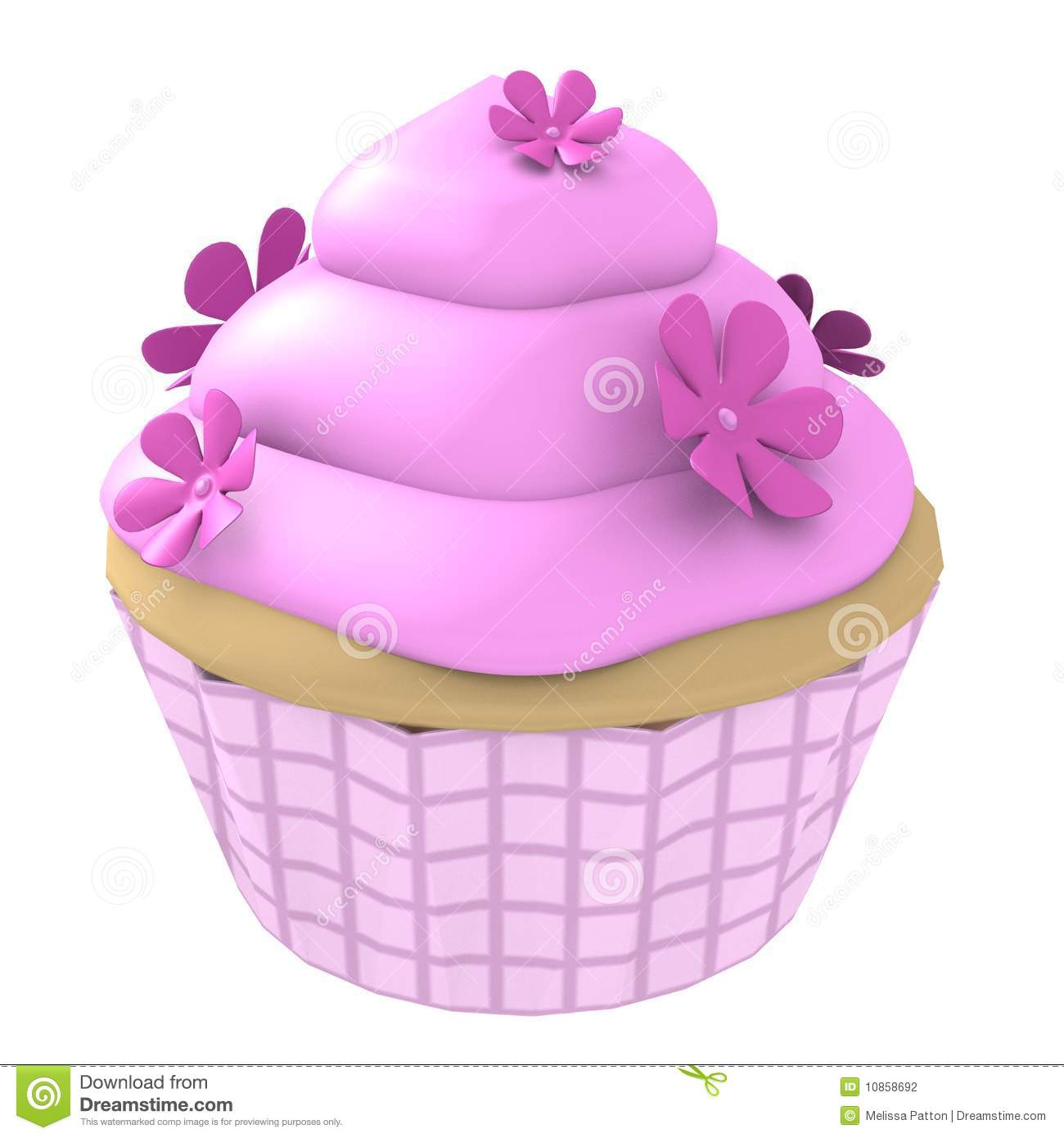 Pink Flower Cupcake 3d Computer Generated Stock Illustration