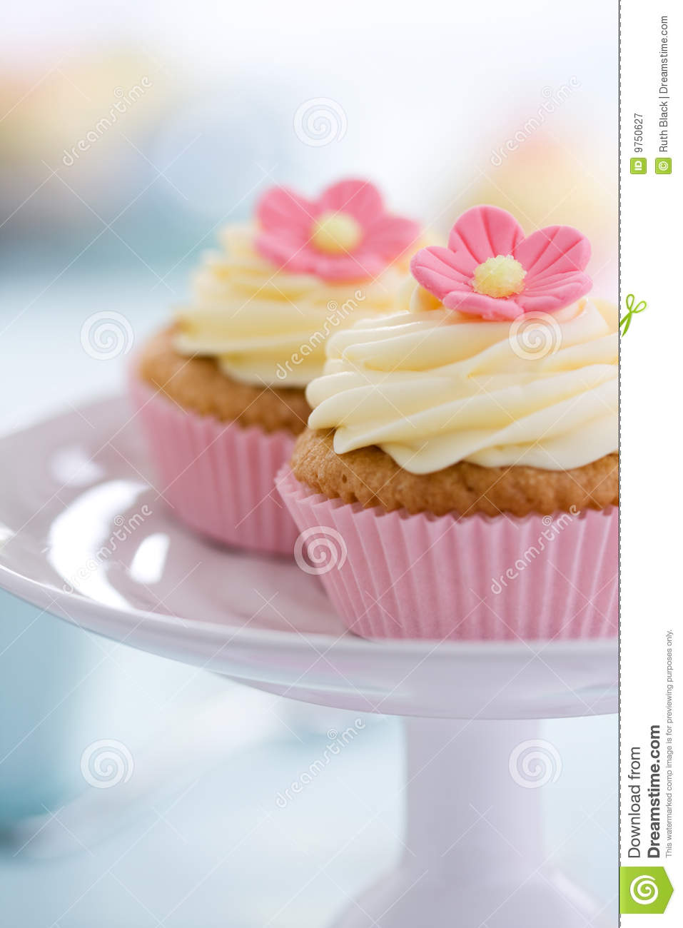Pink Flower Cupcakes Stock Image Image Of Nobody Plate 9750627