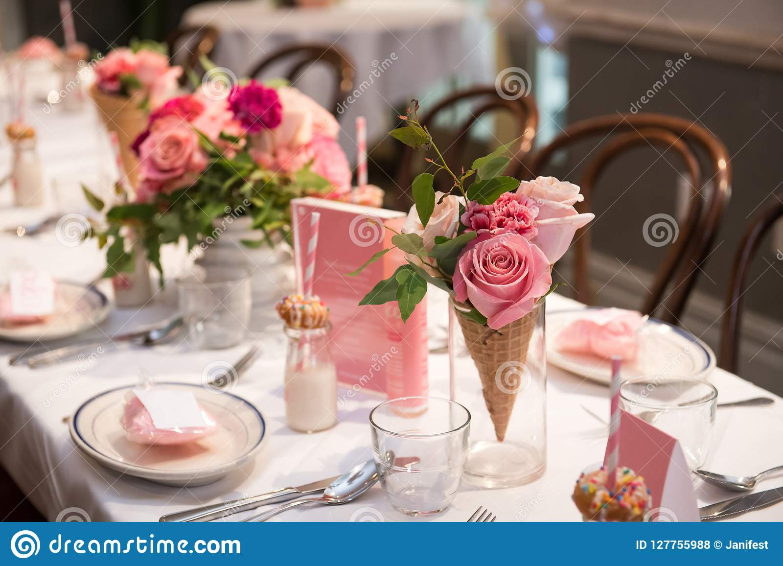 Pink Flower Design On The Served Restaurant Table For Sunday Girly