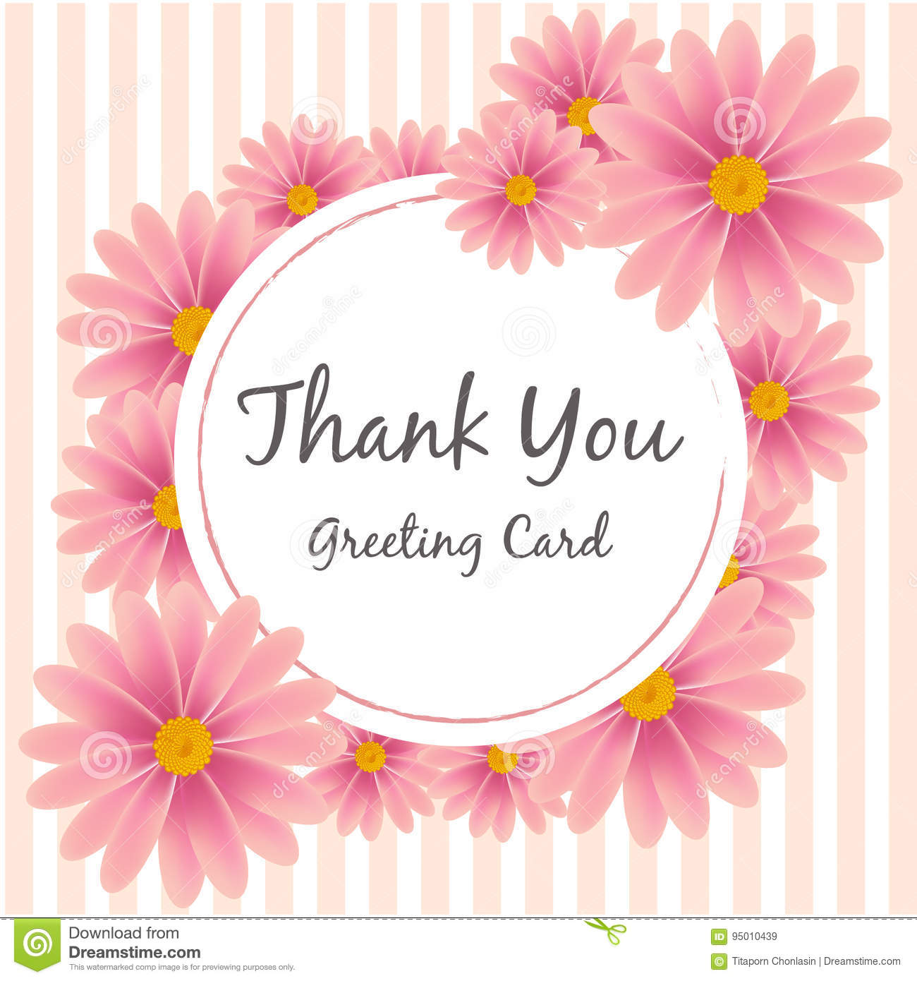 Pink Flower Thank You Greeting Card Vector Stock Vector