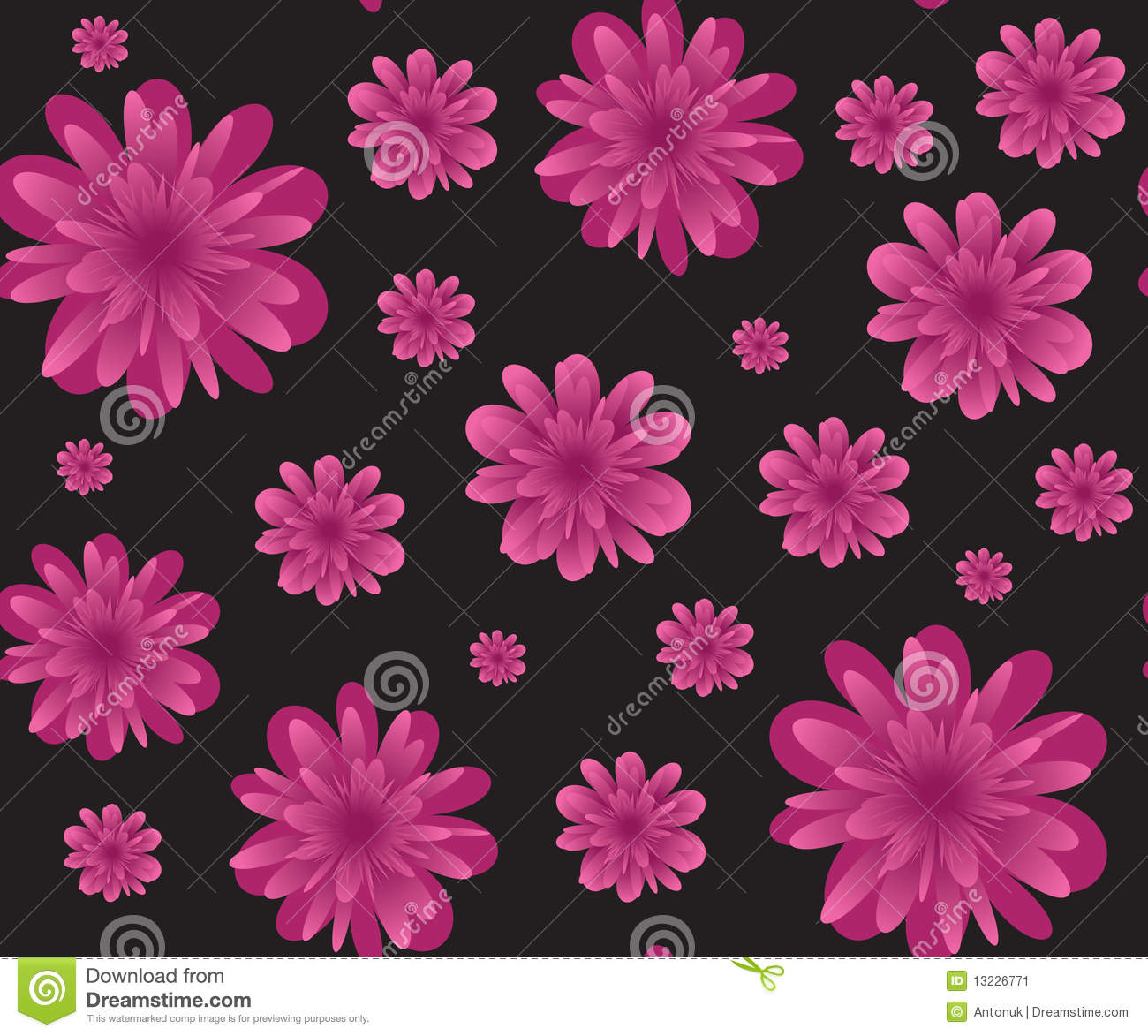 Pink Flowers On Black Seamless Background Stock Vector