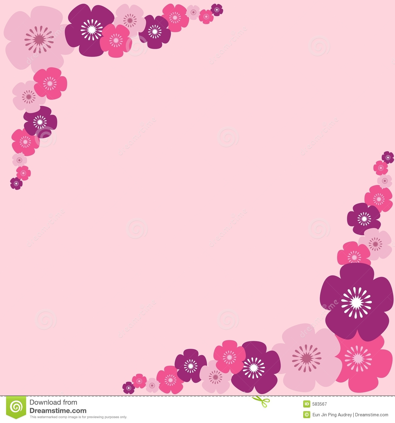 Pink Flowers Border Royalty Free Stock Photography - Image: 583567