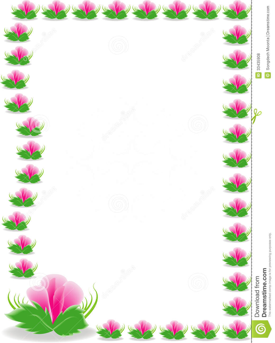 Pink Flowers Border Stock Vector Illustration Of Grass 33435908