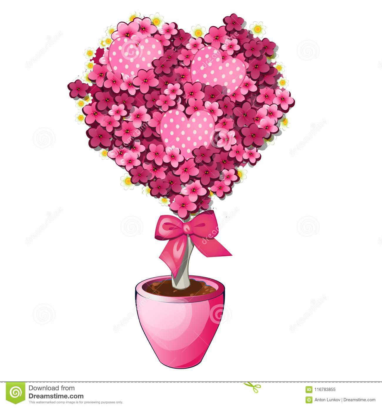 Pink Flowers With Bow In Pot Bonsai Tree In Shape Of Heart