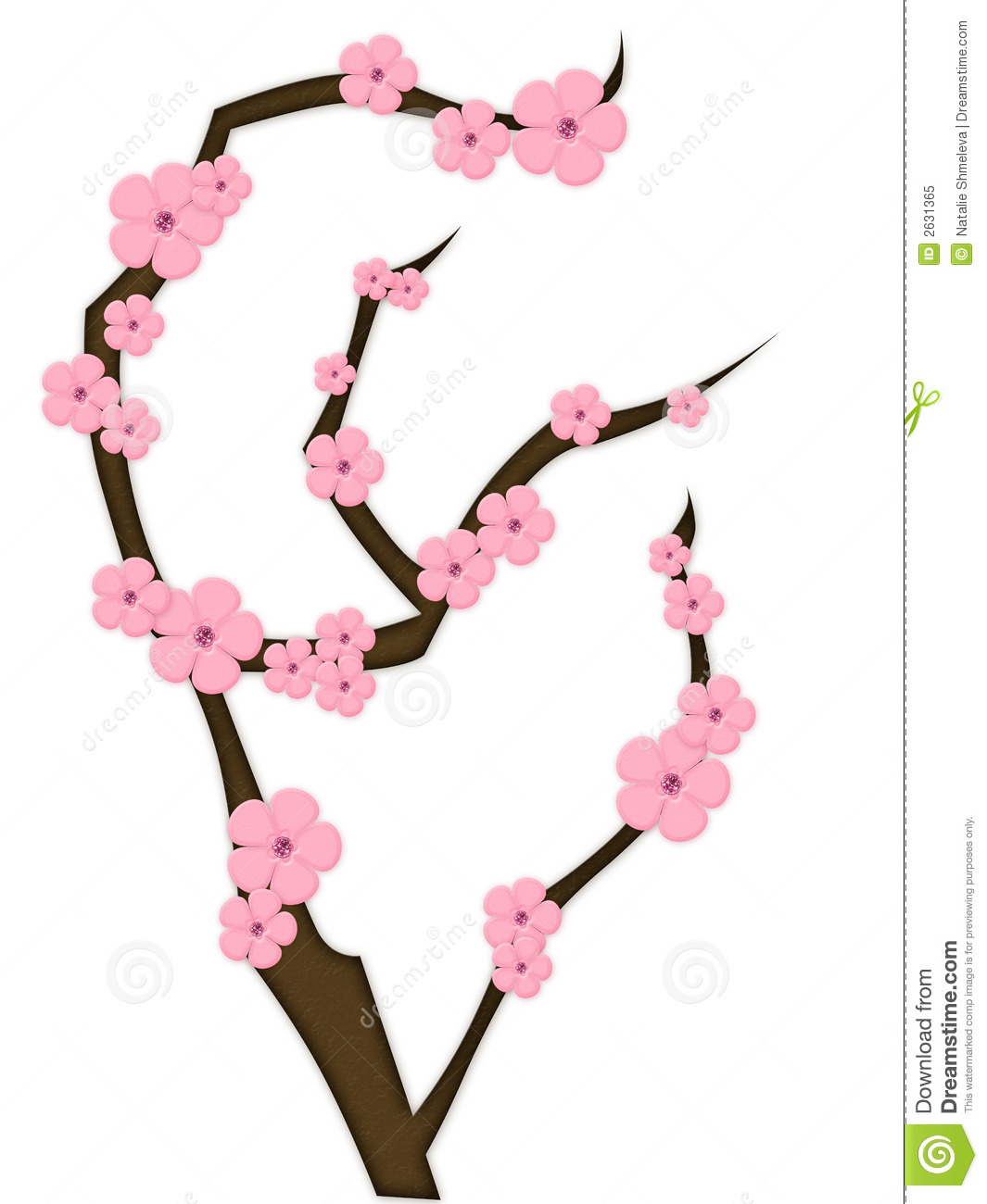 Pink Flowers On A Brown Branch Stock Illustration Illustration Of