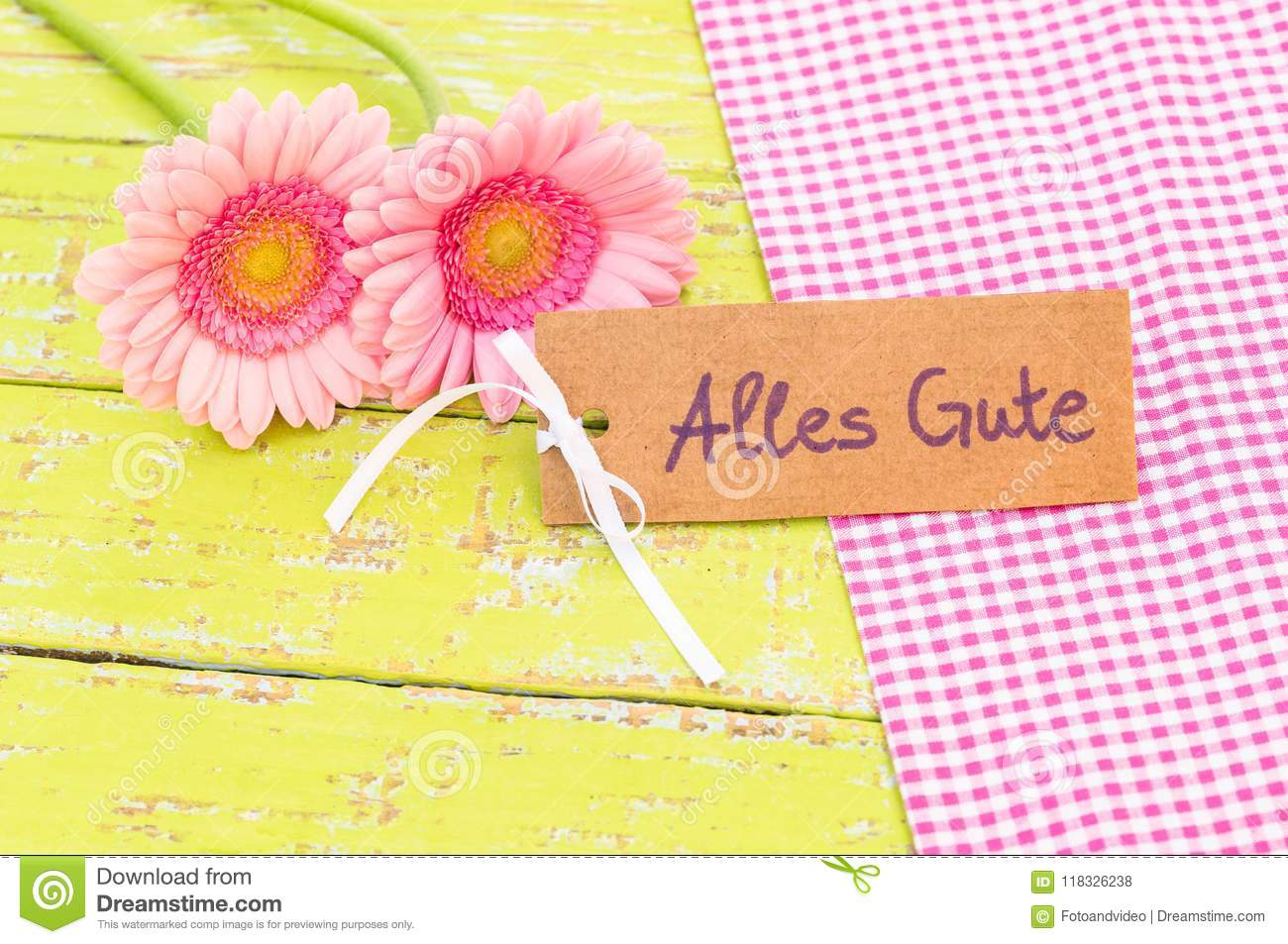 Pink Flowers And Card With German Text, Alles Gute, Means Best