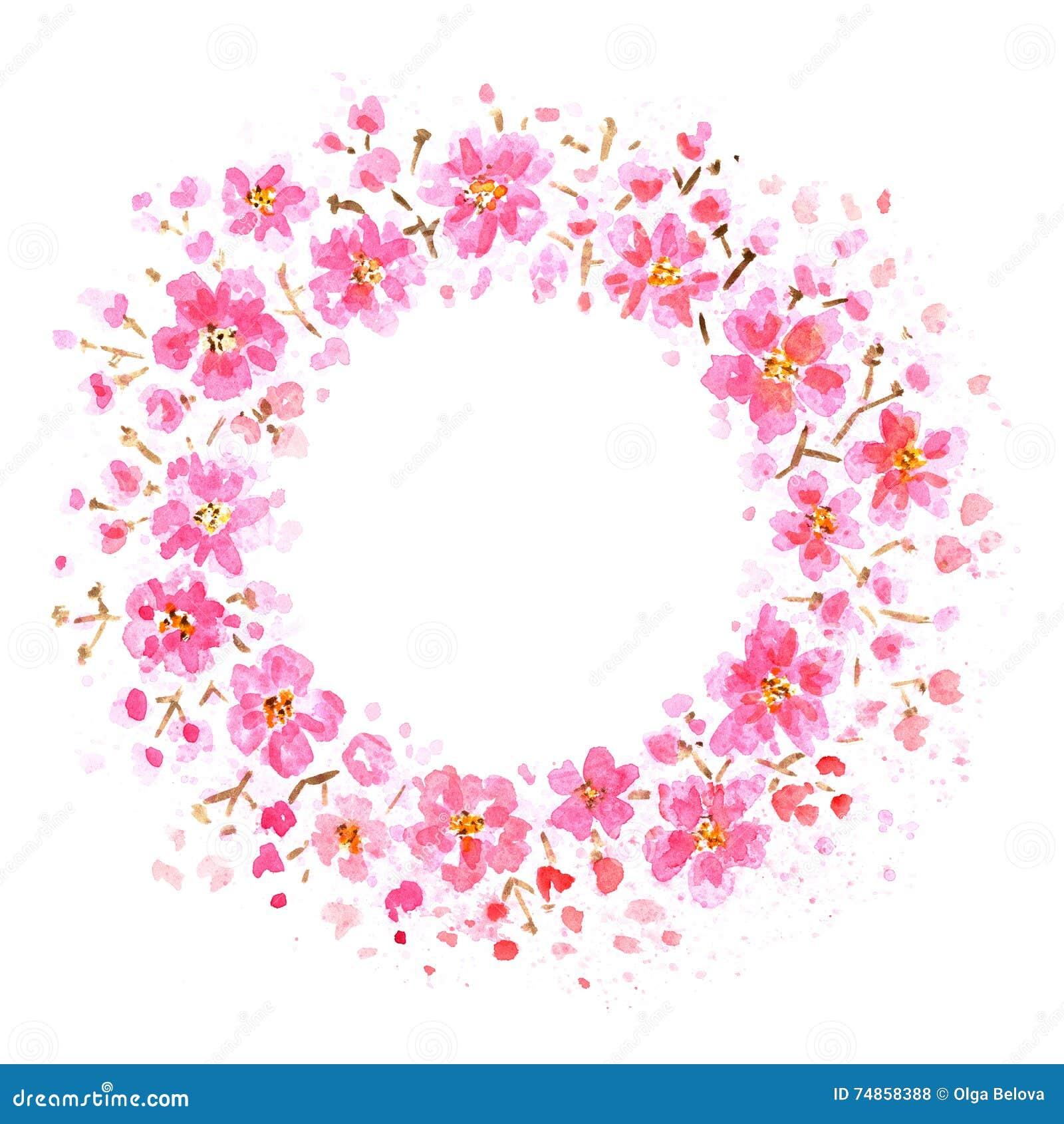 Pink flowers frame stock illustration illustration of wreath 74858388 pink flowers frame mightylinksfo