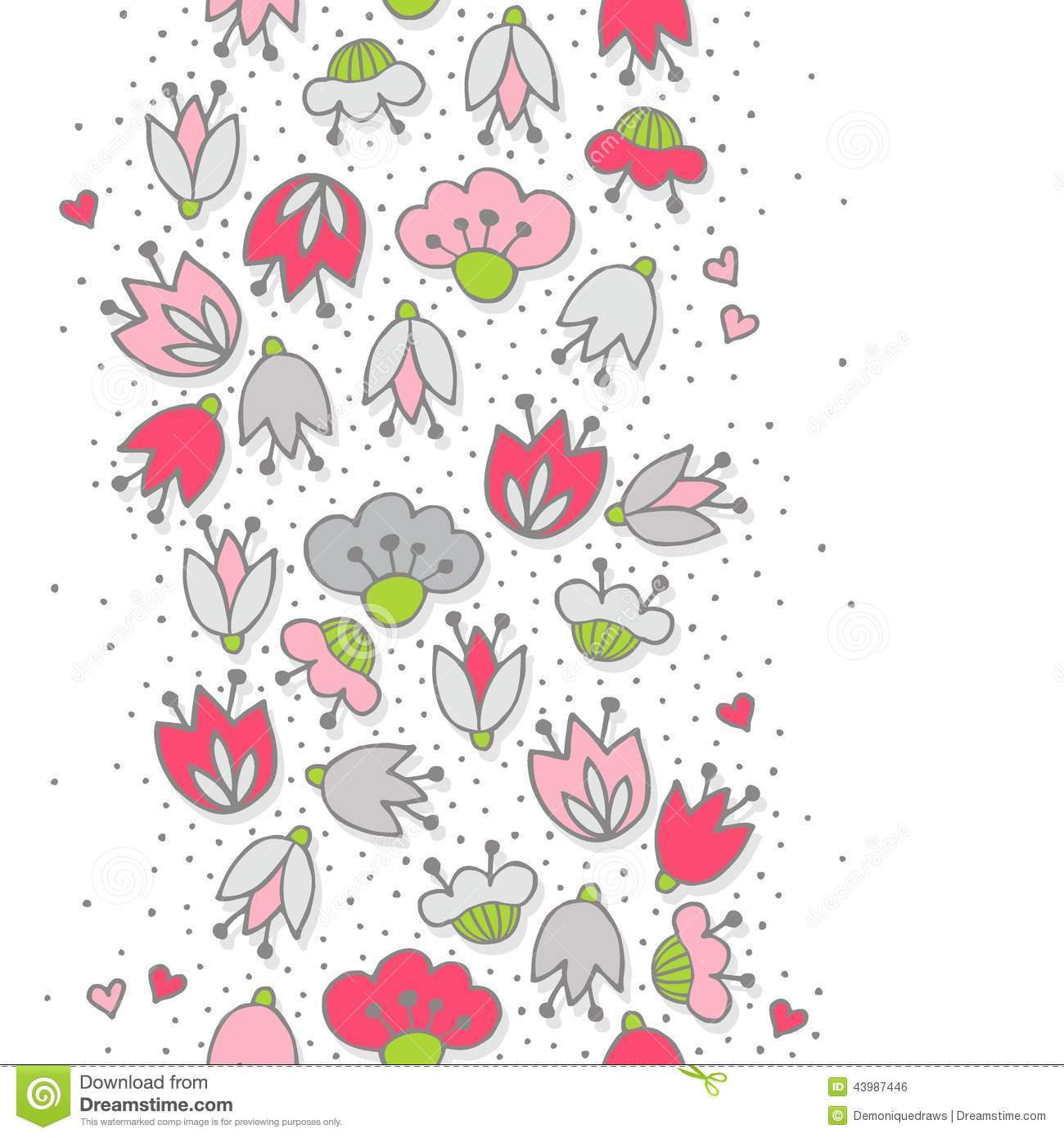 Pink flowers and hearts on dotted white seamless vertical border download pink flowers and hearts on dotted white seamless vertical border stock vector illustration of mightylinksfo