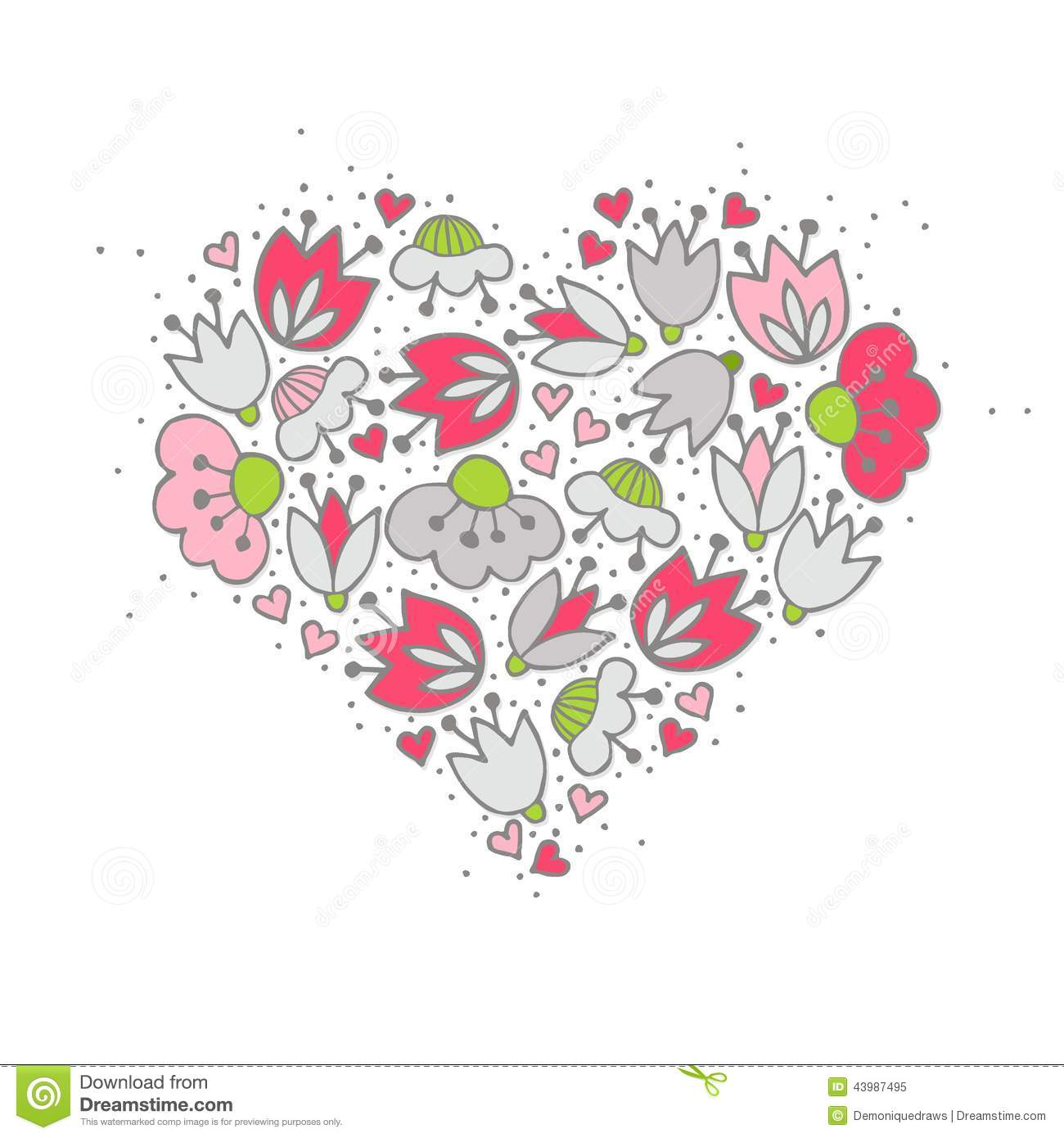 Pink Flowers And Hearts On White Romantic Centerpiece Stock Vector