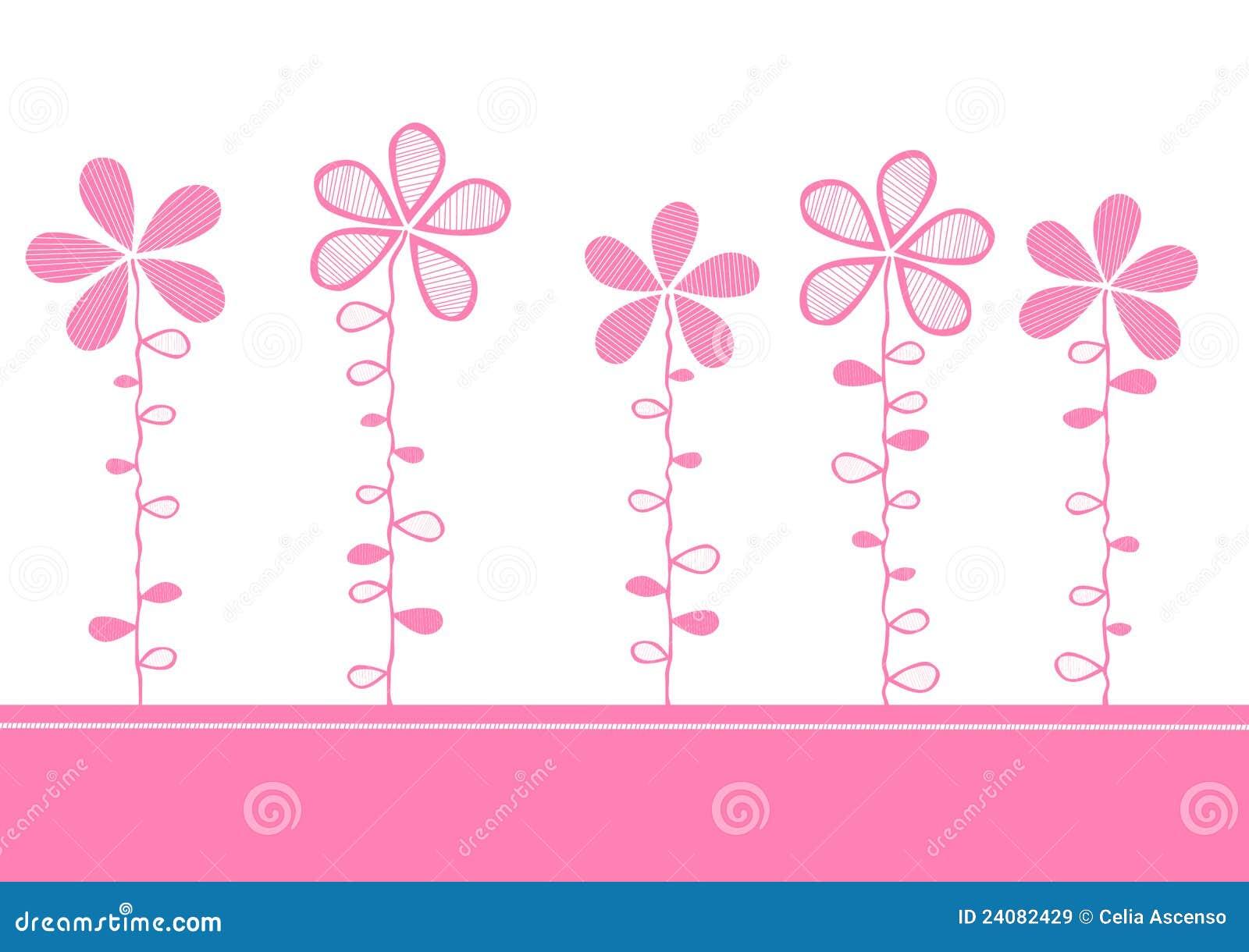 Pink Flowers Invitation Card Stock Illustration - Image ...