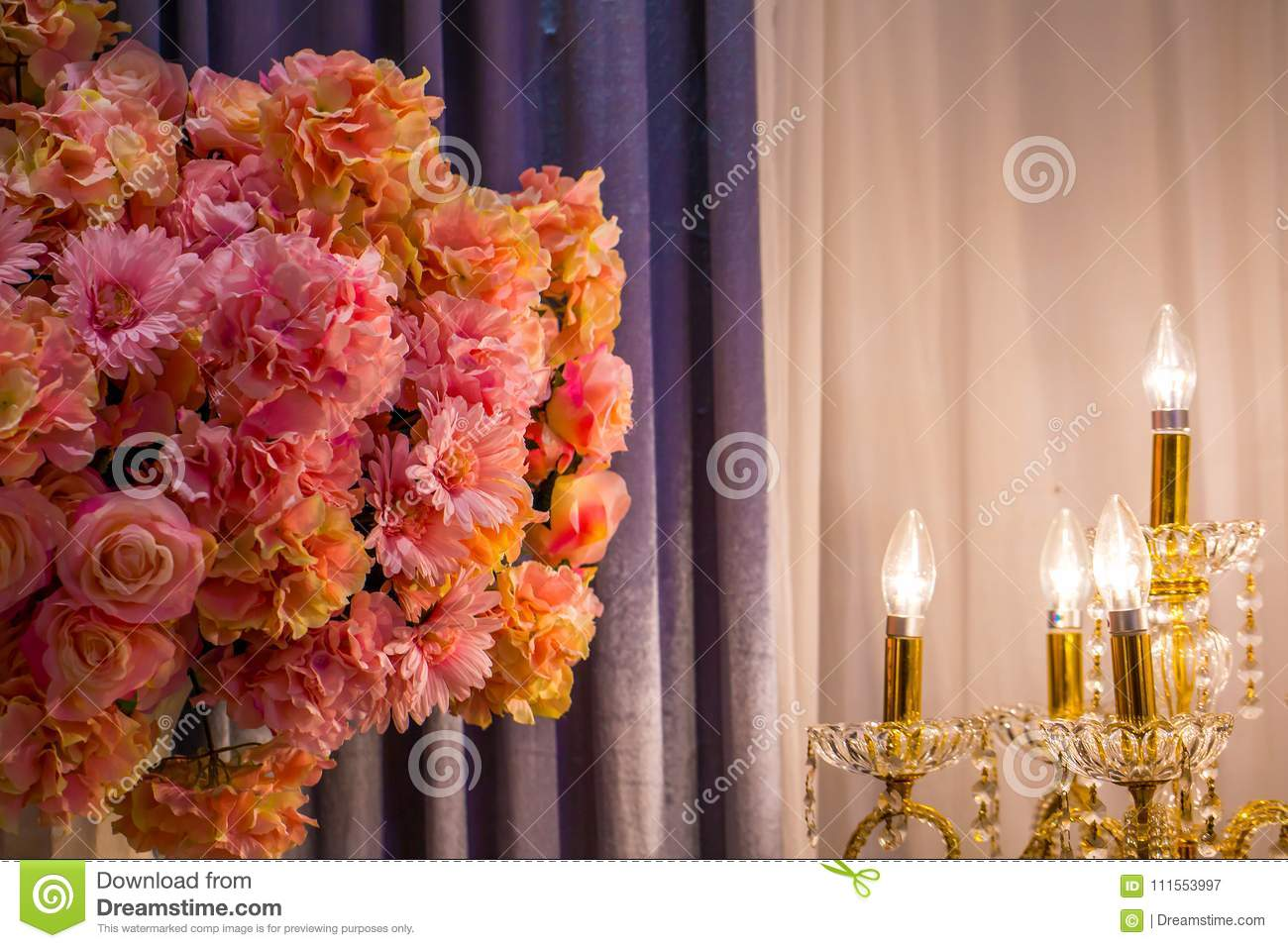 The Pink Flowers In Room With Electronic Candle Light Gray Curtain Romantic