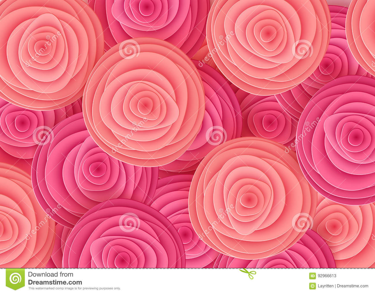 Pink Flowers In Style Of Art Paper Roses Background Made From Paper