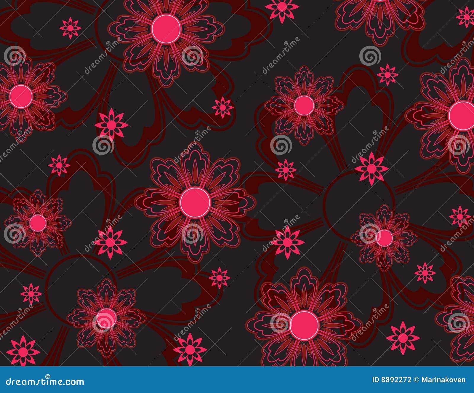 Pink Flowers Wallpaper Stock Illustration Illustration Of Border