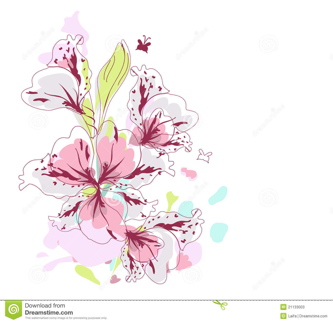 Pink Flowers In Watercolor Stock Photos - Image: 21133003