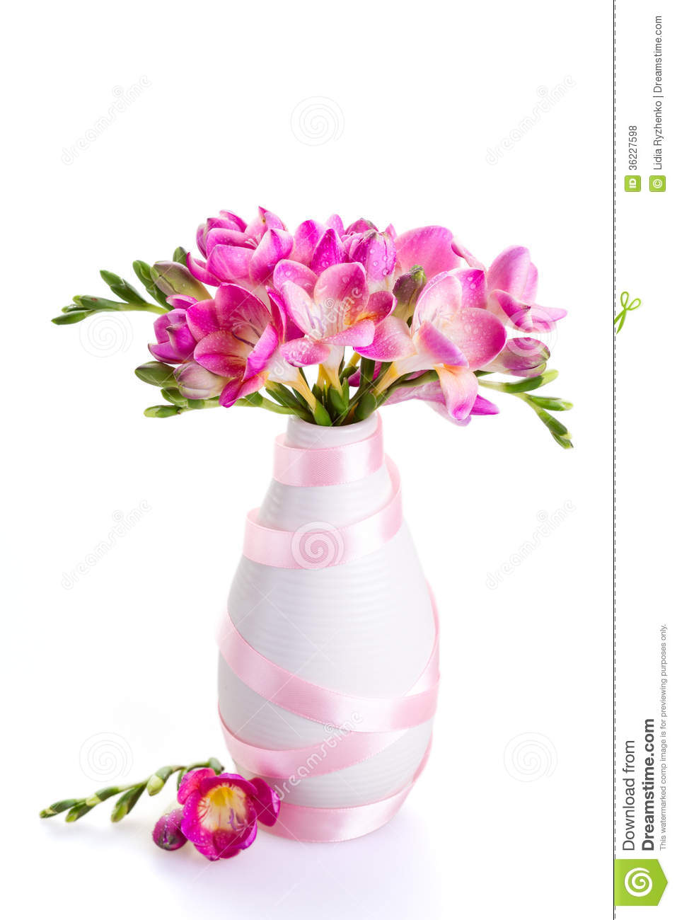 Flower vase decorations gallery vases design picture pink flowers in a white vase decorated with ribbon stock photo pink flowers in a white reviewsmspy