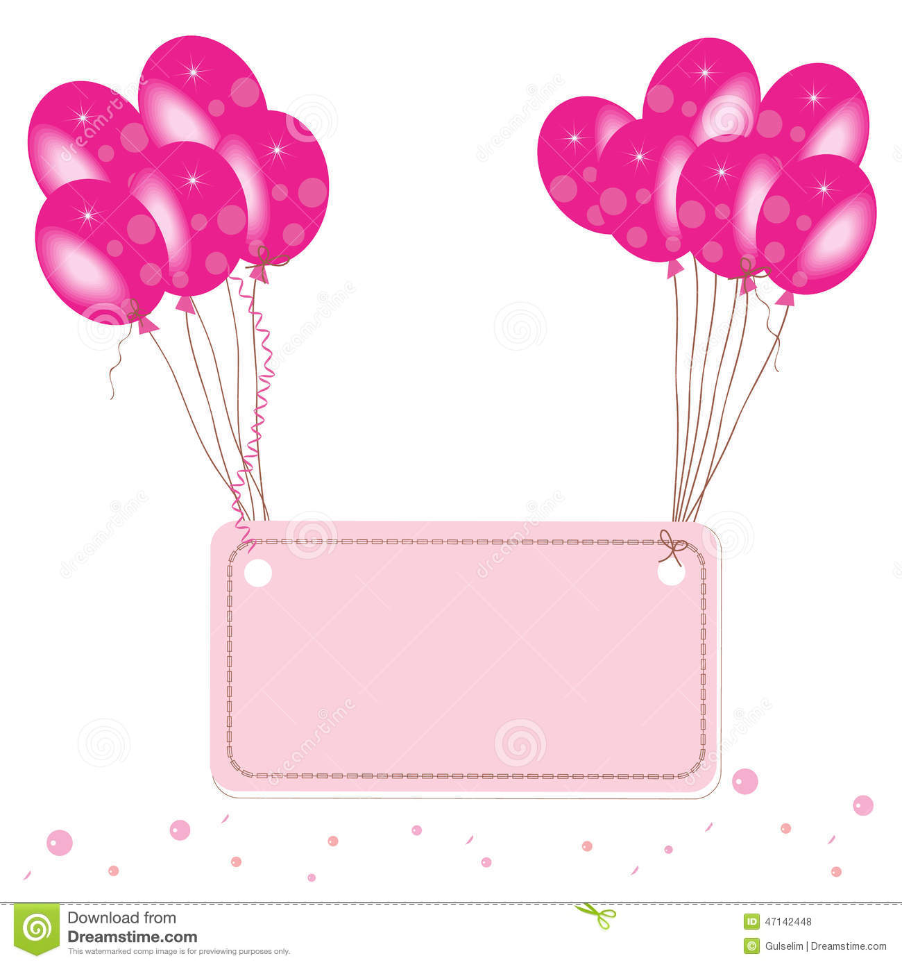 Pink Flying Balloon Place For Text Wallpaper