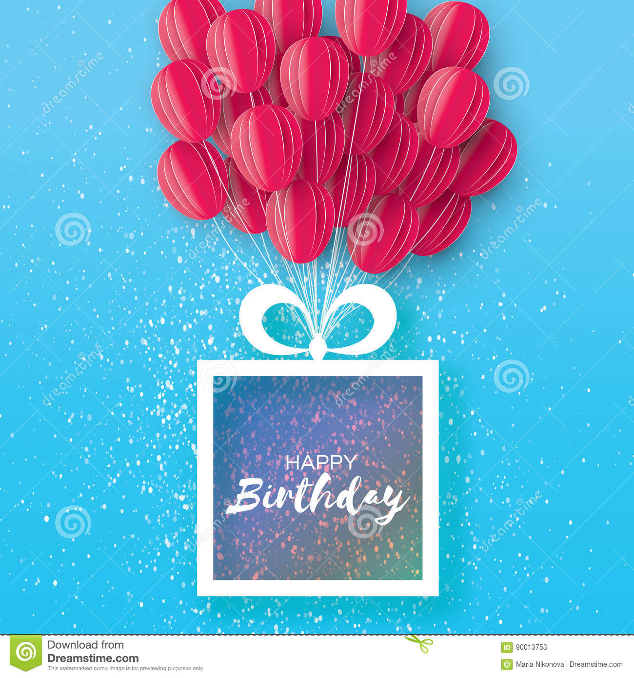 Happy Birthday Greeting Card Origami Gift Box Space