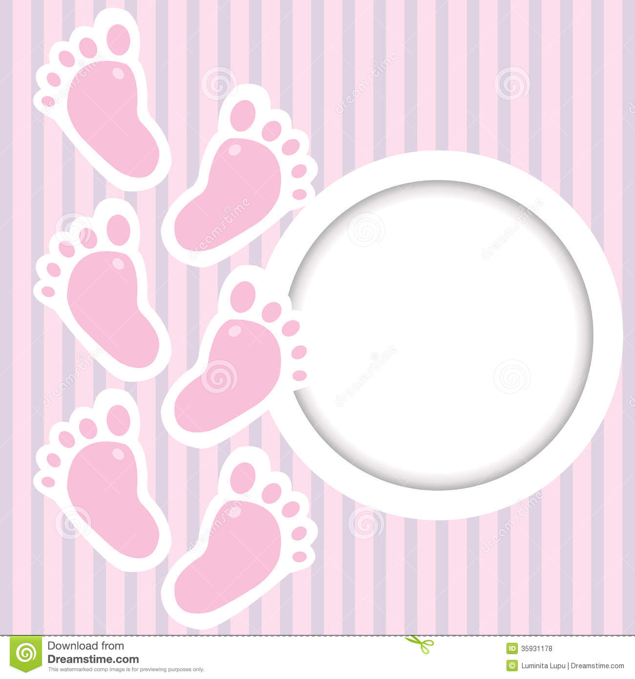 Pink Frame Baby Steps Place Text on Polka Steps