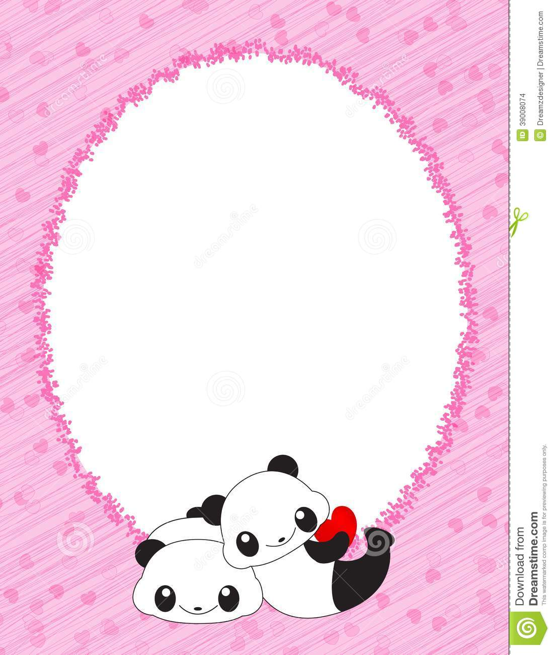 Pink Frame With Hearts And Pandas Stock Vector