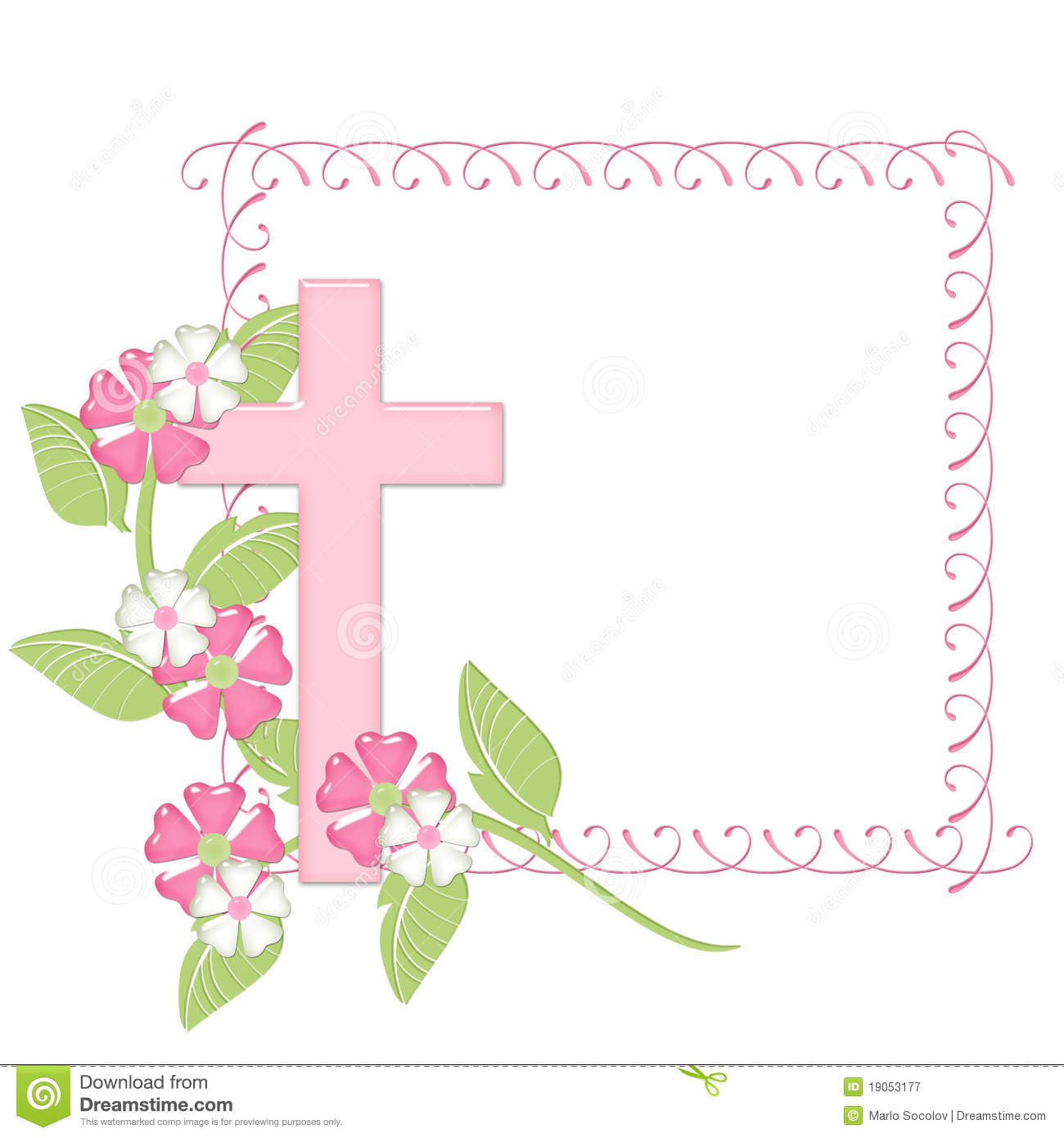 Pink Frame with Pink Cross stock illustration. Illustration of ...