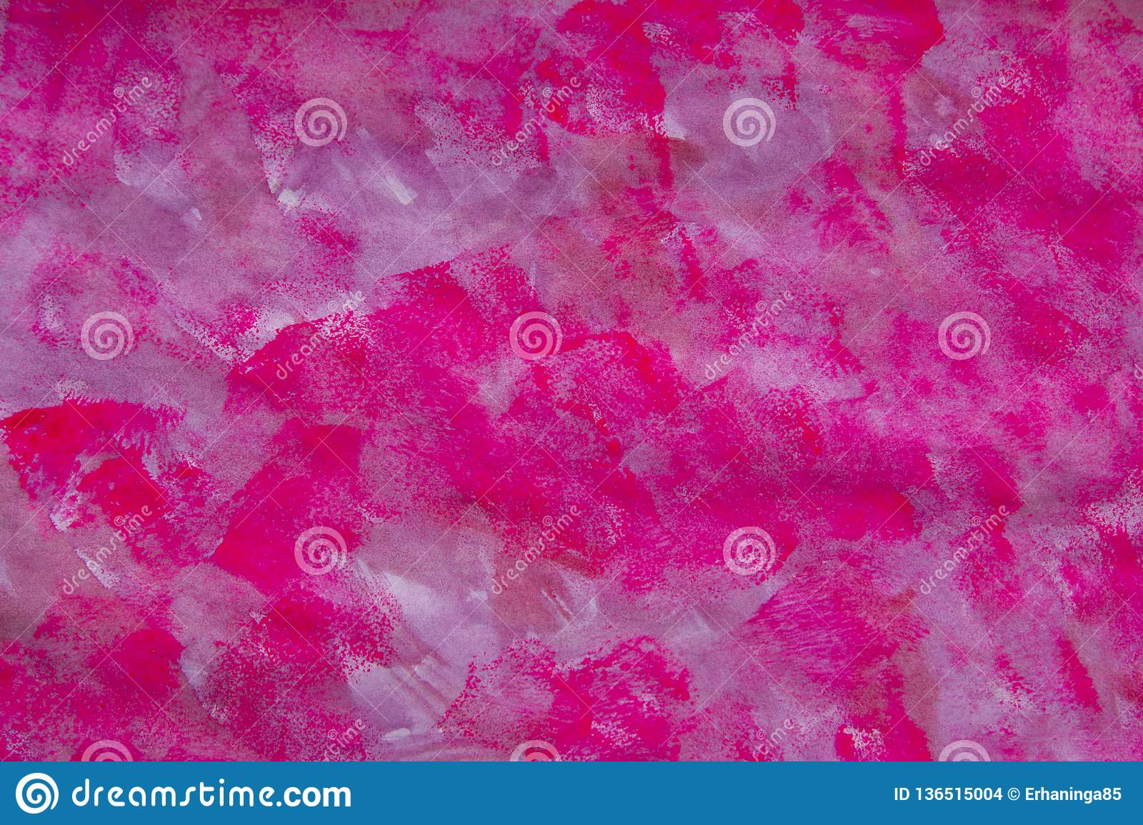 Pink, fuchsia hand painted texture, background - red paint brush strokes. Watercolor.