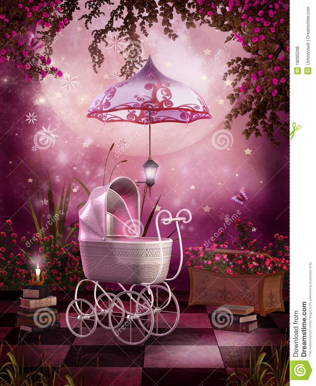 pink garden with a pram royalty free stock photos - image: 18095298
