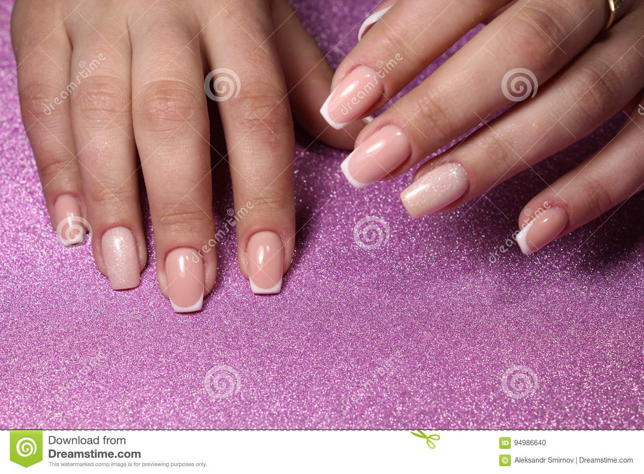Pink Gentle French Manicure Design Stock Photo - Image of background ...