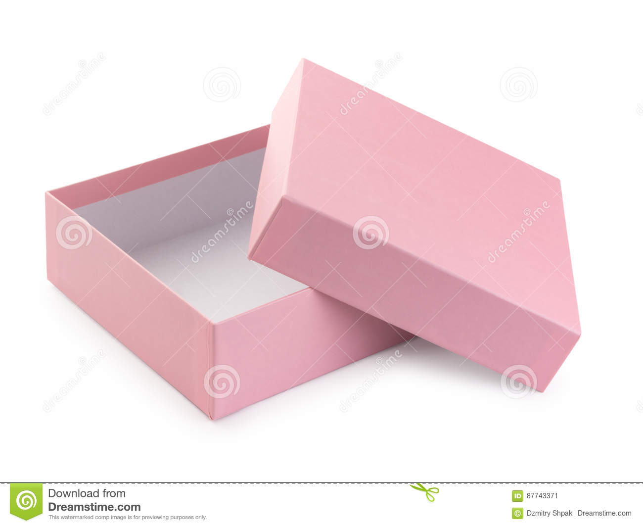 Pink gift box open, isolated on white