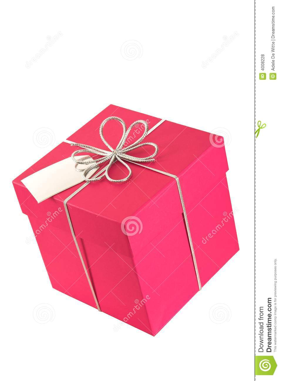 Pink gift box square with bow and tag royalty free stock