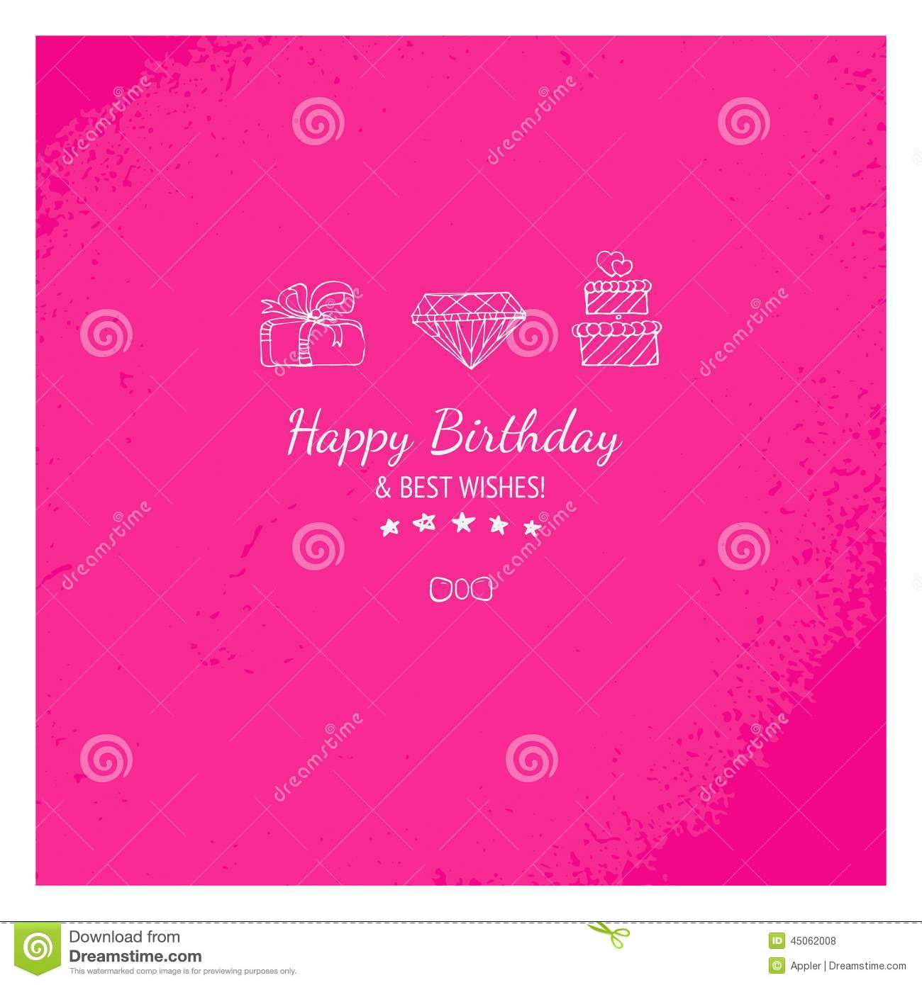 Pink Gift Card With Happy Birthday Message Stock Illustration