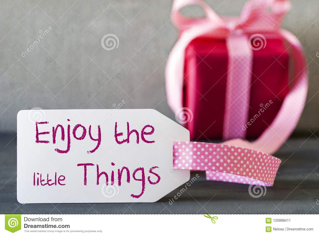 Pink Gift Label Quote Enjoy The Little Things Stock Image Image