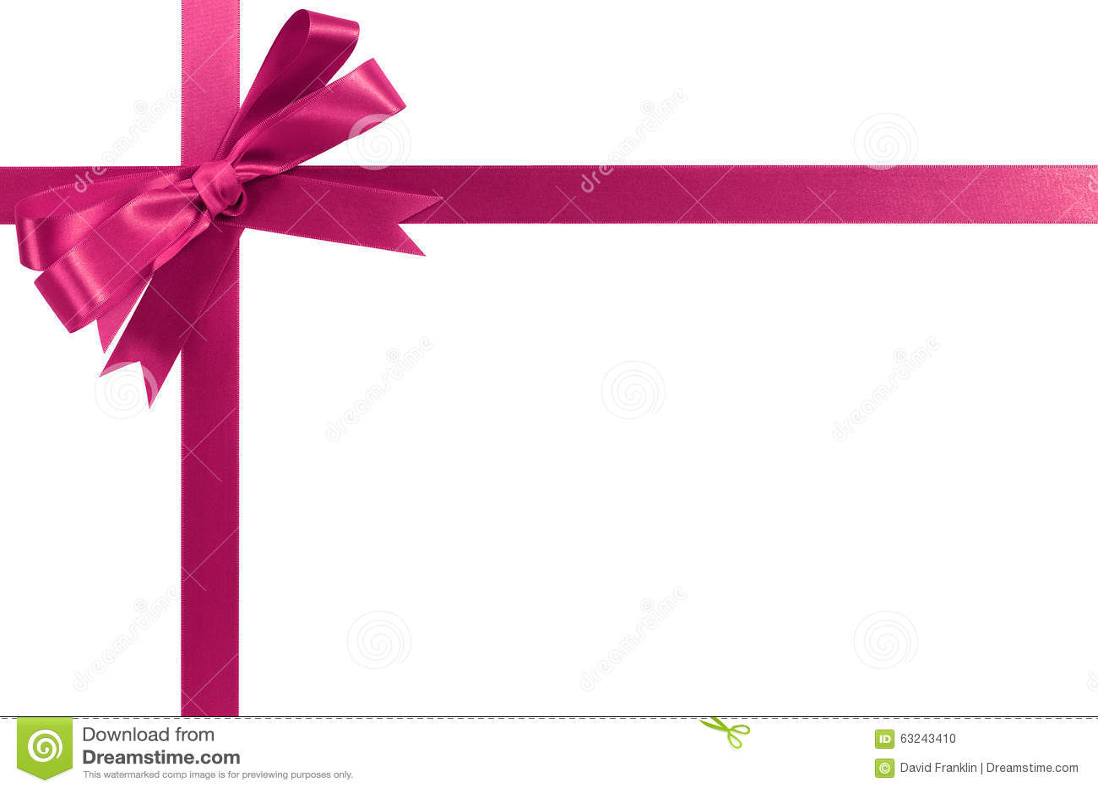 Pink Gift Ribbon Horizontal Corner Cross Shape Stock Photo ...
