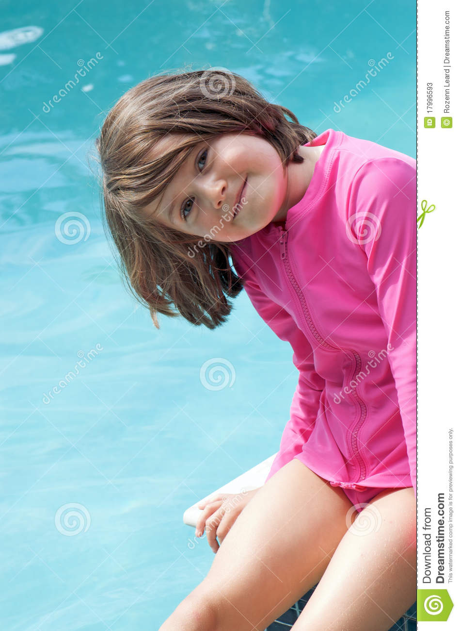 Pink Girl At The Blue Pool Stock Photos Image 17996593