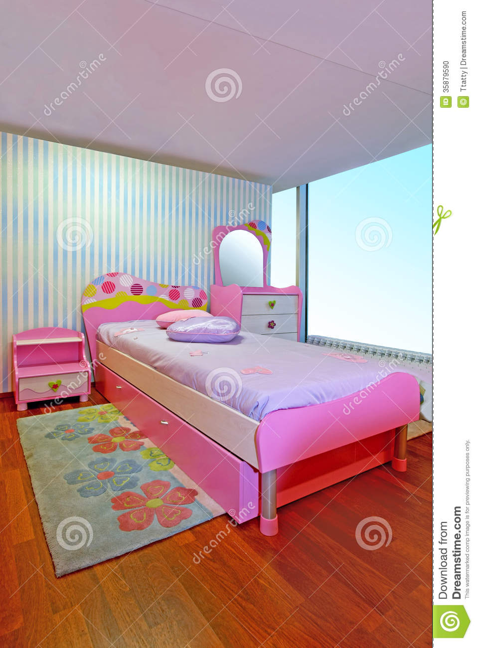 Pink girly bedroom stock photo image 35879590 - Chambre a coucher enfant ...