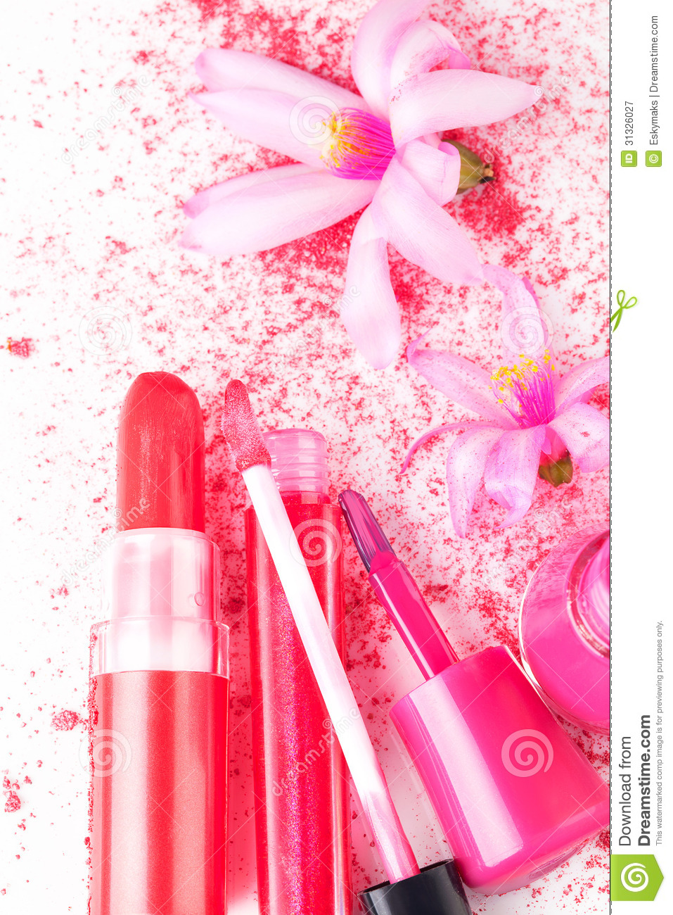 pink girly cosmetcis stock image image of close up