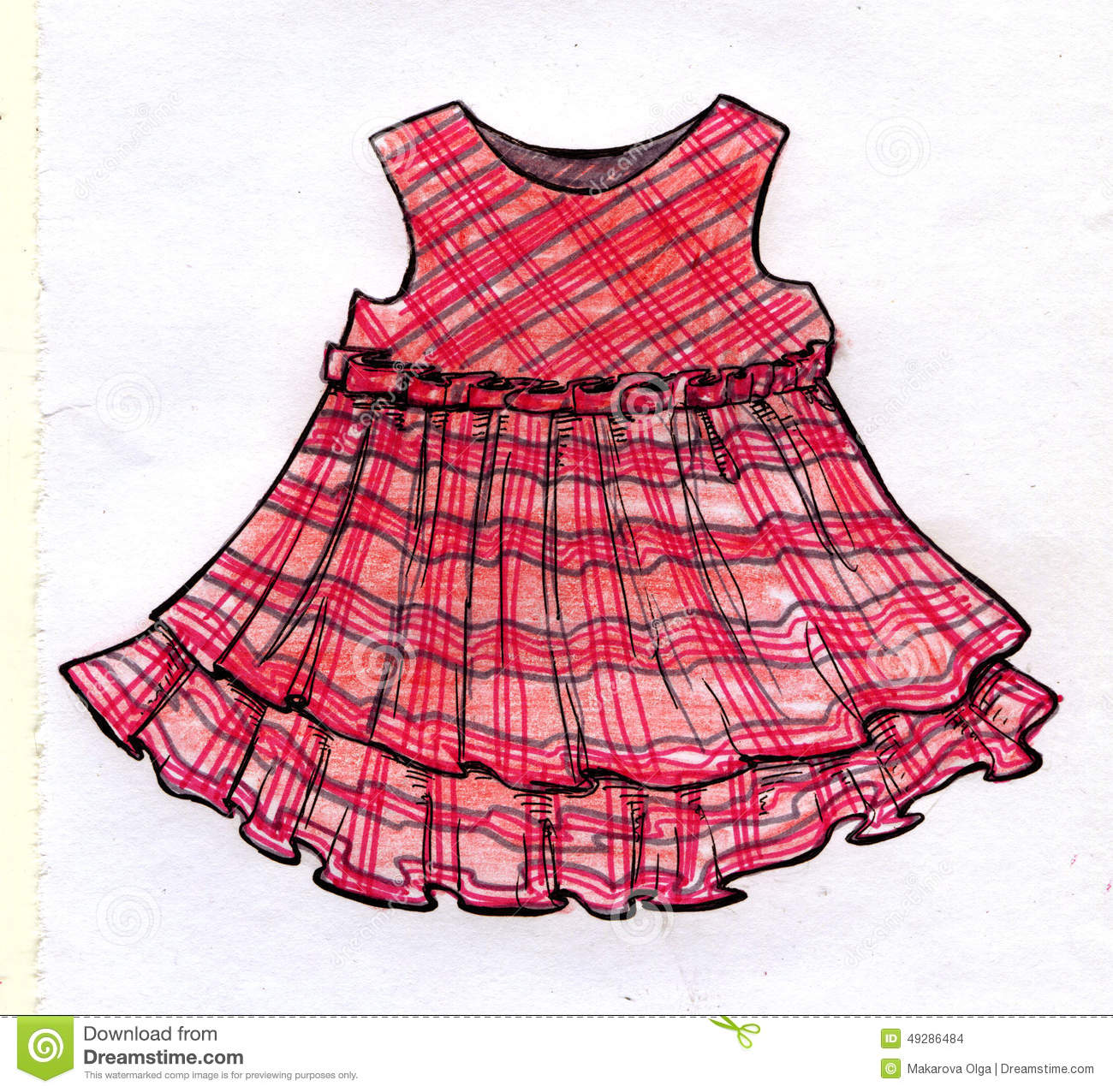 Hand drawn ink pencil and markers sketch of a pink girly dress design with grey and purple stripes and a folded ribbon at the waist
