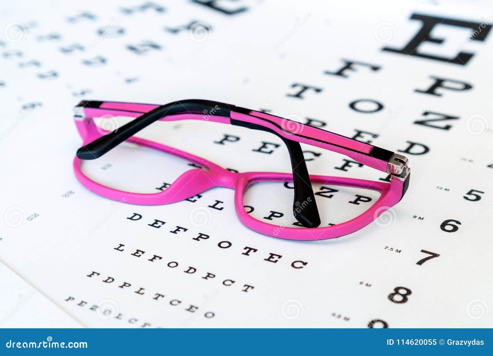 Pink Glasses On A Eye Exam Chart Stock Image Image Of Optometry