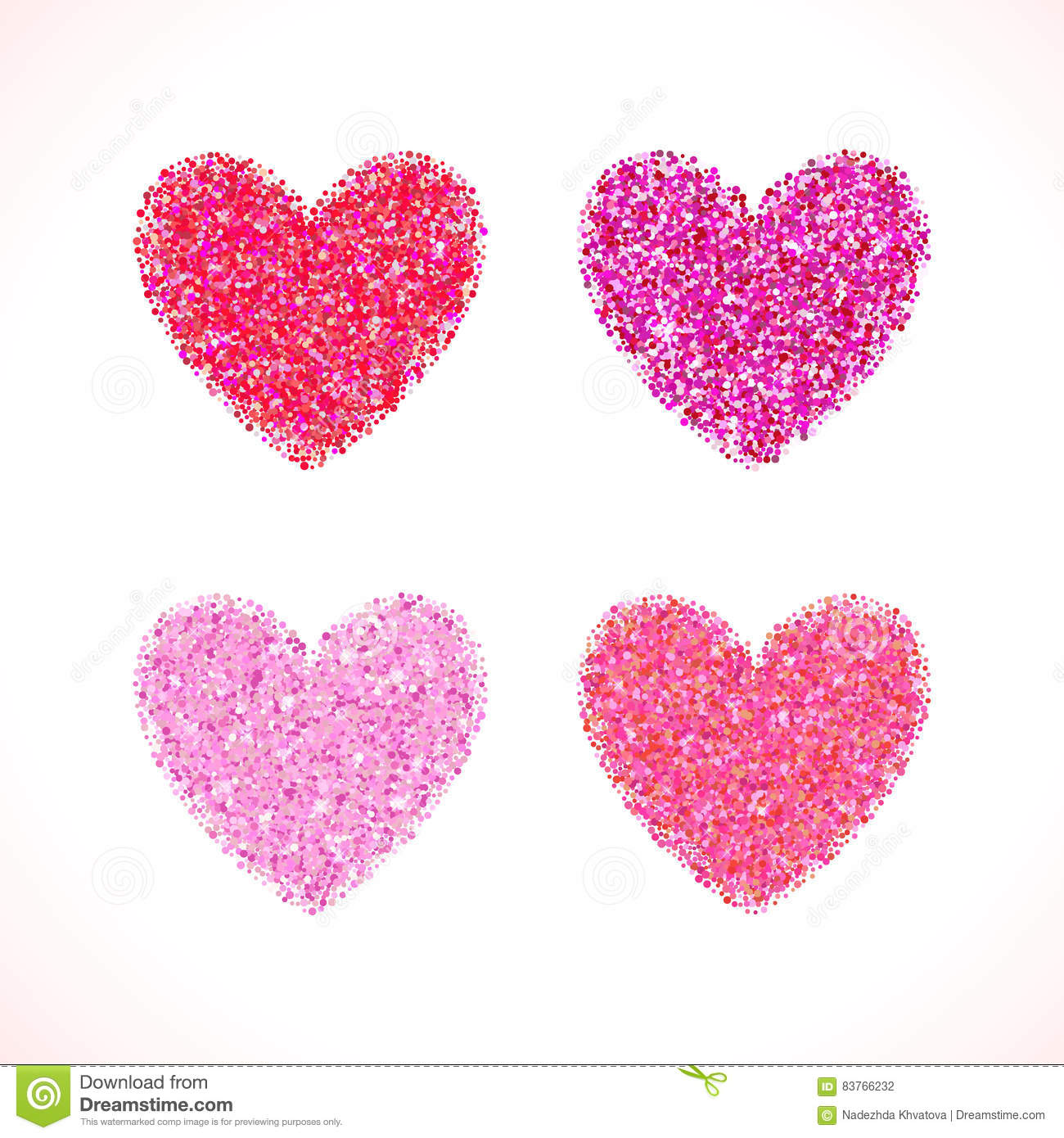 Pink Glitter Valentine Day Heart Shape. Vector Background For ...