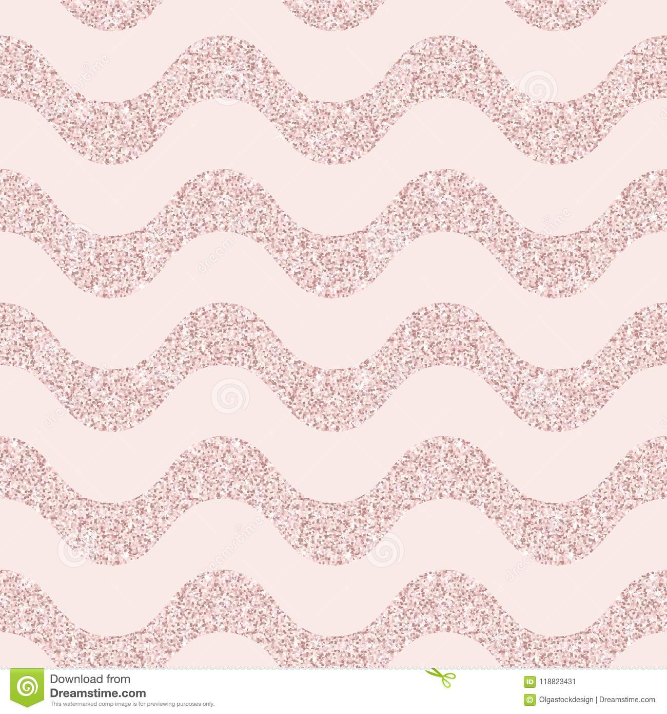 Pink Glitter Vector Seamless Pattern With Wavy Lines