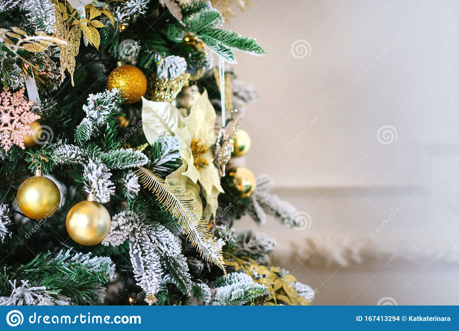 Pink And Gold Balls Of Christmas Tree Decoration In Classic And Luxury Colors On Bright Background Happy New Year And Xmas Theme Stock Photo Image Of Gold Bright 167413294