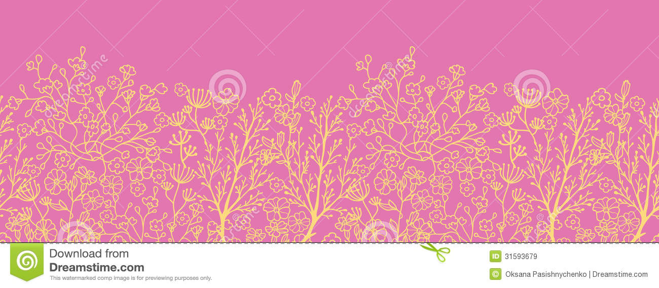 Download Pink And Gold Florals Horizontal Seamless Pattern Background Border Stock Illustration